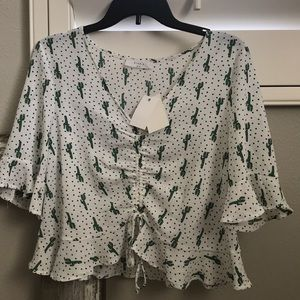 white cinch front flowy top